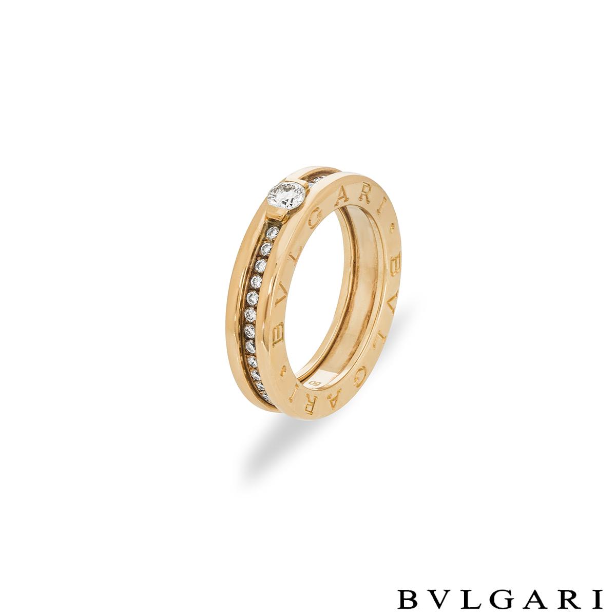 Bvlgari Yellow Gold Diamond B.Zero1 Ring Size 50